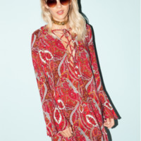 Cotton Candy LA Light My Fire Dress in Paisley