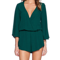Blue Life Wild & Free Romper in Green
