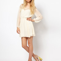 Cream Long Sleeve Lace And Chiffon A-Line Dress