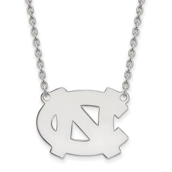 NCAA Sterling Silver North Carolina Large 'NC' Pendant Necklace