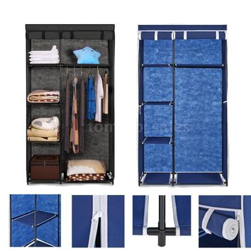 IKAYAA Non-Woven Fabric Wardrobe / Storage Closet W/ Hanging Rack, 5-Storage Shelves, & Roll-Up Door