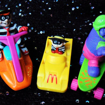 Vintage 80s and 90s McDonalds Grimace and Hamburglar Figurines Toys