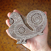 Peacock Stamp: Hand Carved Wood Stamp, Bird Pigeon Printing Block, Indian Wooden Ceramic Pottery Textile Stamp, India
