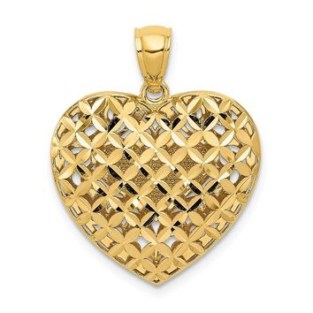 14k Two Tone Gold Reversible Filigree and Basket Weave Heart Pendant