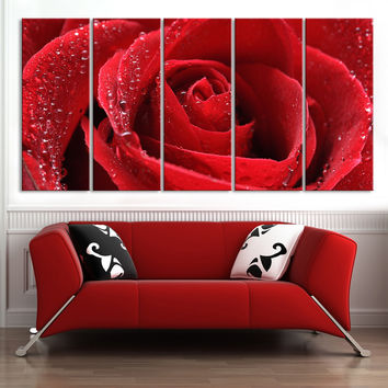 Large Wall Art Canvas Print 5 Panel Rose Flower - For Love Rose Flower Wall Art Canvas