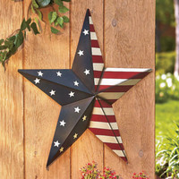 "24"" Metal Star and Stripes Patriotic Star Wall Decor Garden Yard Home Decor"
