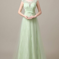 Aria Illusion Yoke Pleated Tulle Gown