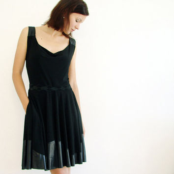 Little Black Dress with Full Circle Skirt Cowl Neck by LuciaVerona