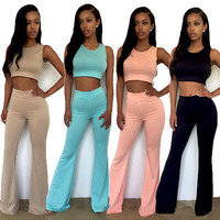 New 2-piece Set Fashion Flared Trousers High Waist Wide Leg Long Pants Trousers 4 Colors