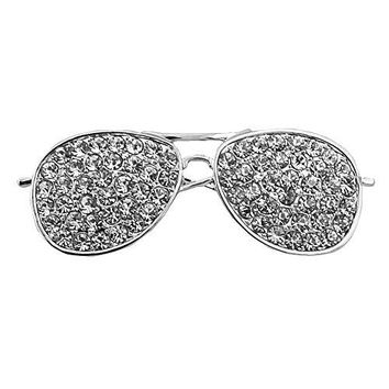 CHUYUN Cool Sunglasses Brooches Pin For Women Gold And Silver Color Jewelry Rhinestone Lapel Pin