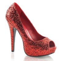 Womens Red Glitter Peep Toe Pumps Sparkly Shoes with 5 Inch Glittering Heels Size: 8