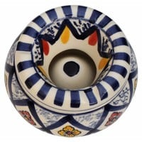 Bright Moroccan Pattern Ashtray In Ceramic With 3 Cigarette Holder Slots By Benzara