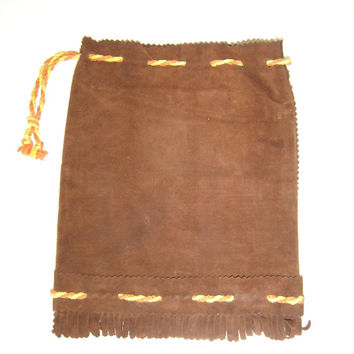 Vintage Bulgarian Antique suede Folk Shepherd's Bag, wool messenger bag, brown bag with colored links