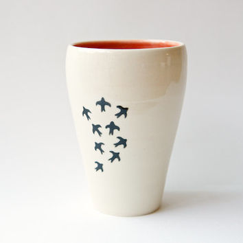 Coral Bird Vase- Swallow design by RossLab- Pottery, vintage inspired