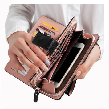 Wallets Zipper dollar price Leather wallet Men/Women Wallets/clutch carteira feminina