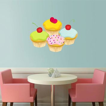 cik892 Full Color Wall decal cupcakes sweet food cafe restaurant
