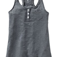 Girls Slub-Knit Henley Tanks