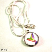 Hummingbird Pendant on a Chain Necklace, Handmade Necklace with Hummingbird Pendant, Fashion Jewelry