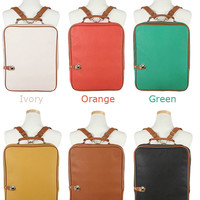 [Hi-Korean-Fashion]Square Faux Leather School Backpacks Womens Laptop Totes Bags