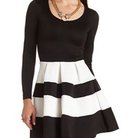 STRIPED SCUBA SKATER DRESS