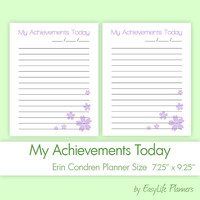 "My Achievements (7.25"" x 9.25"") PDF for Erin Condren Life Planner. Filofax Printable refills. CheckList binder inserts. Instant Download."