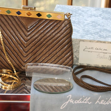 Vintage Judith Leiber Brown Snake Skin Clutch Purse with Gold Trim and Jeweled Edge