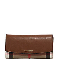 Burberry - Porter Leather & House Check Continental Wallet - Saks Fifth Avenue Mobile