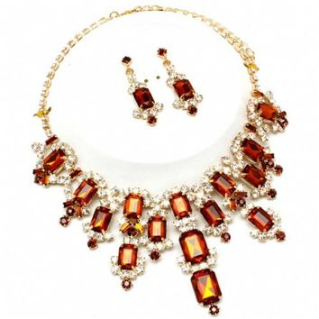 Margaret's Fancy Cascading Emerald Shape Brown Crystal Necklace Set