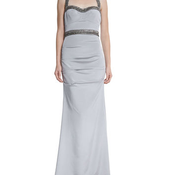 Sleeveless Sweetheart Beaded-Waist Gown, Size: