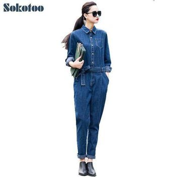 PEAPGC3 Sokotoo Women's full sleeve casual loose denim jumpsuits Lady's fashion blue overalls with sashes Free shipping