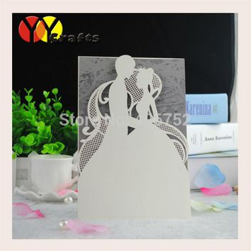 Laser Cut Paper Couple Wedding Invitation