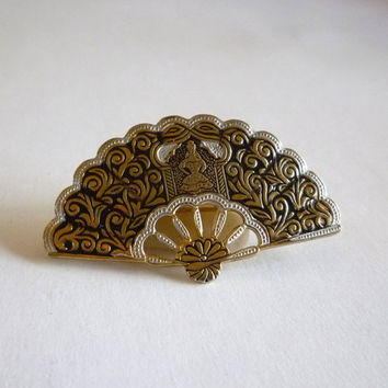 Damascene Fan Brooch signed Spain, Vintage Toledo Jewelry