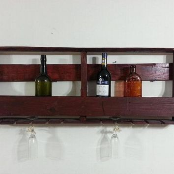 reclaimed wood Wine rack with glass holder