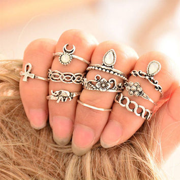 Retro Boho 10-piece Elephant Ring Set + Nice Gift Box