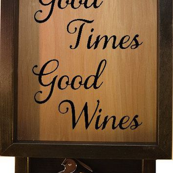 "Wooden Shadow Box Wine Cork Holder with Corkscrew 9""x15"" - Good Times Good Wines"