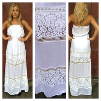 White Strapless Lace Stacy Maxi Dress