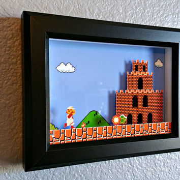 Super Mario Bros. (NES) Firey Mario Reaches Bowser's Castle Shadow Box