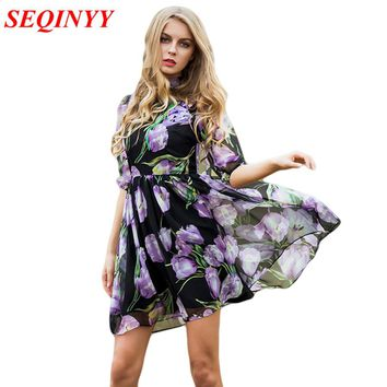 Fashion Dress Summer Spring New  Women's 2017 New Half Lantern Sleeve Purple Flowers Printed Emrboidery A-line Dress