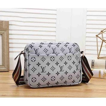LV Louis Vuitton Fashion New Monogram Print Shopping Leisure Leather Shoulder Bag Women Gray