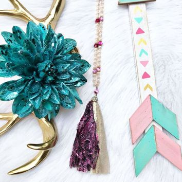 Pink and Black Tassel Necklace