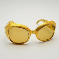 Vintage French Sunglasses, Oversize Gold Plastic Novelty Sunglasses, Made in France, circa 1970s