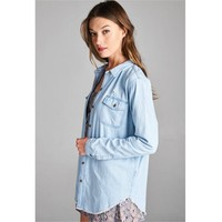 Denim Button-Up Top