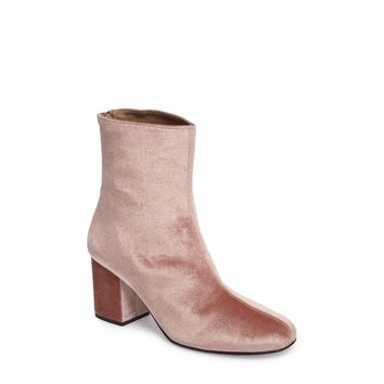 Free People Cecile Block Heel Bootie in Rose Velvet