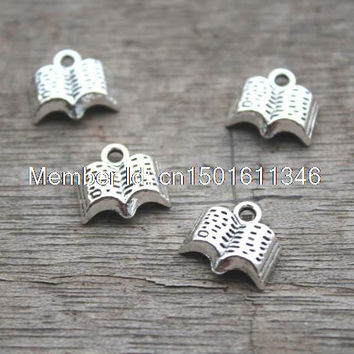 40pcs Opened Book charms Pendants 10 x 10mm tibetan silver tone once upon a time