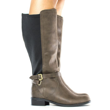 Franny Knee High Round Toe Elastic Insert Riding Boots