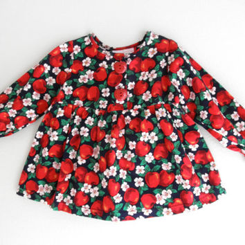 Vintage Rockabilly Baby Girl Shirt Red Cherries or Apples Clothing Gently Used Vintage Clothes Baby And Toddler Photo Props 3T