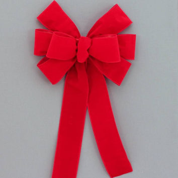 Red Wire Edge Outdoor Christmas Bow