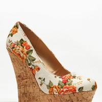 Floral Print Cork Wedges @ Cicihot Wedges Shoes Store:Wedge Shoes,Wedge Boots,Wedge Heels,Wedge Sandals,Dress Shoes,Summer Shoes,Spring Shoes,Prom Shoes,Women's Wedge Shoes,Wedge Platforms Shoes,floral wedges