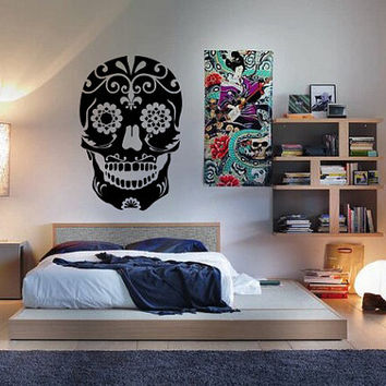 Day of the Dead Sugar Skull Sticker Vinyl Decal Wall Art Mural Dia De Los Muertos Azucar Halloween Scary Spooky Mexico Latin America 36in