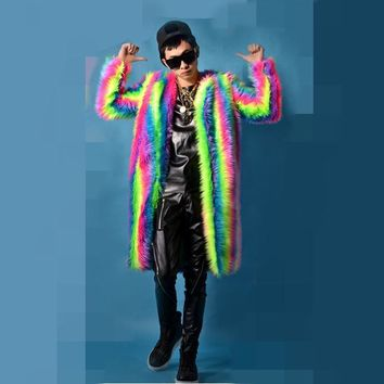 2016 male costume cool nightclub clothing outdoors slim wear performance show star dancer singer rainbow Plush coat long jacket